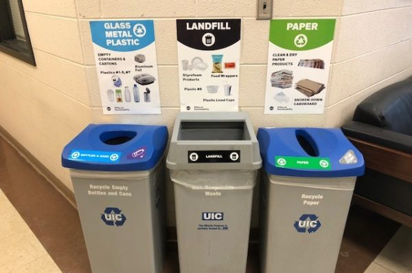 Bottles & Cans, Trash, and Paper receptacles